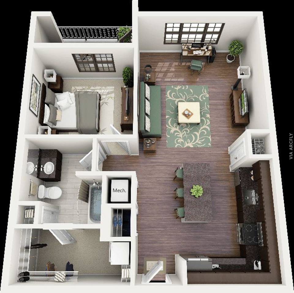 2 Bedroom House Plans Designs 3d Small  simsitynet
